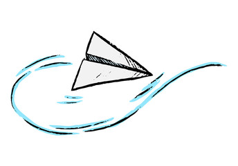 Simple vector hand drawn illustration. Paper Airplane. Color drawing isolated on a white background. Graphic doodles, sketching. Primitive style single pictures for design, prints, card, posters etc.