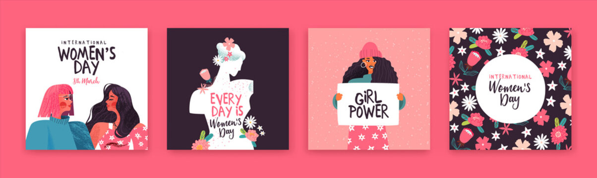 Women's day set of hand drawn women holiday card