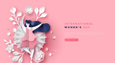 Women's day pink papercut floral girl web template
