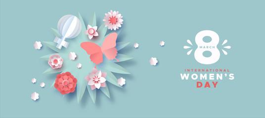 Women's day pink paper craft spring flower banner