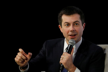 "Democratic U.S. presidential candidate and former South Bend Mayor Pete Buttigieg speaks during the ""Moving America Forward: A Presidential Candidate Forum on Infrastructure, Jobs and Building a Better America"" event in Las Vegas, Nevada"