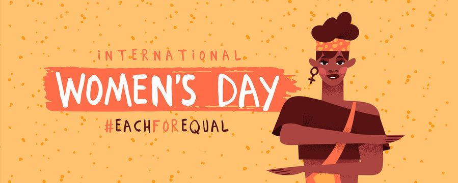 Women's day each for equal afro woman banner