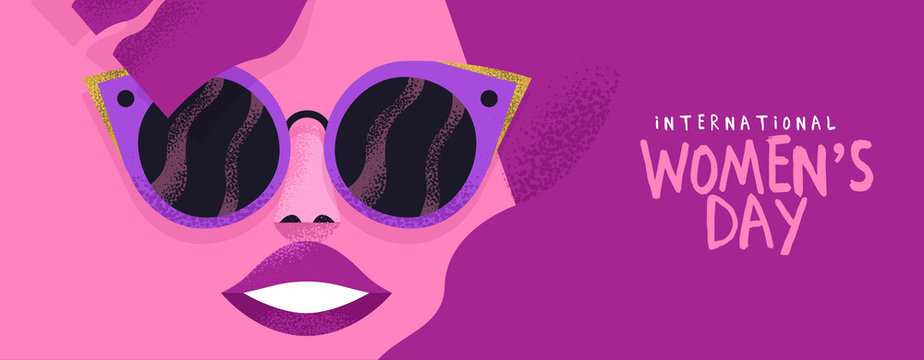 Women's day banner of pink fashion woman