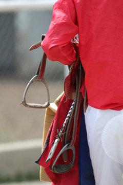 Horse Racing Jockey At Racetrack