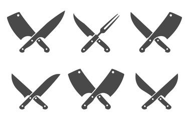 Butcher crossed knives