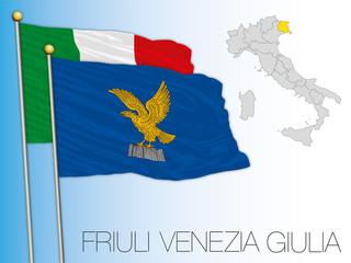 Friuli Venezia Giulia official regional flag and map, European Union, Italy, vector illustration