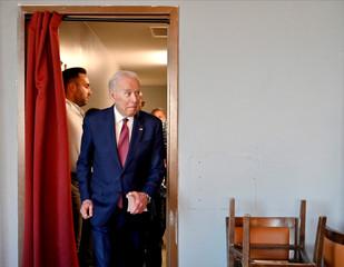 Democratic U.S. presidential candidate and former Vice President Biden arrives to speak at the Nevada Black Legislative Caucus Black History Brunch in Las Vegas
