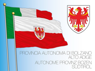 Officially flag and coat of arms of the Autonomous province of Bolzano, Italy, vector illustration