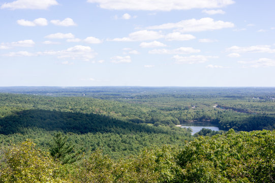 Houghton's Pond in Milton, MA as seen from the top of the Great Blue Hill
