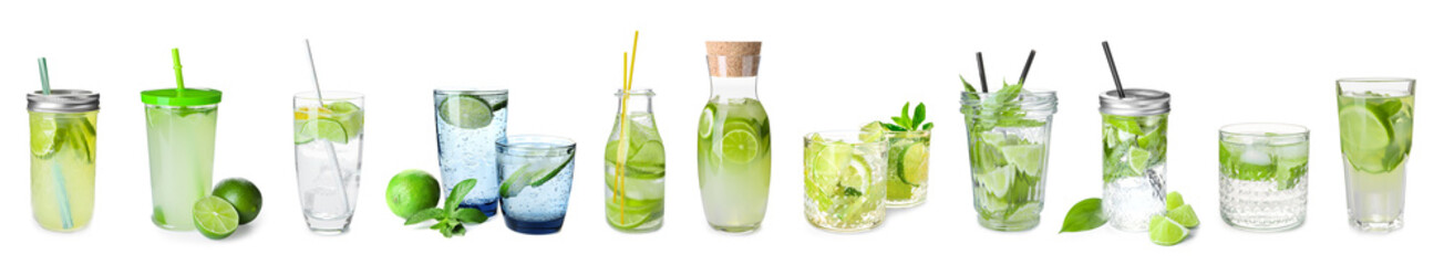 Fresh lime lemonade on white background