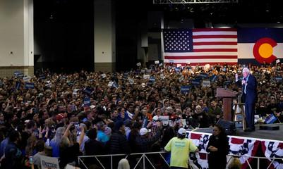 Democratic U.S. presidential candidate Senator Bernie Sanders talks to supporters in Denver