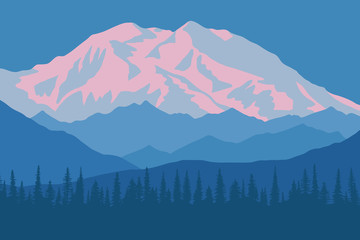 Wall Mural - Vector drawing of Denali - McKinley, Alaska. Traveling in the mountains, climbing. Dawn landscape, peak in the sunrise.