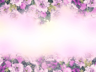 Wall Mural - Pink and violet bouquet flower frame on white color for wedding card.