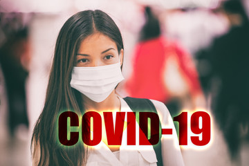 COVID-10 Sign with header text over Asian chinese woman tourist wearing face surgical mask as protection for Coronavirus during travel at airport.