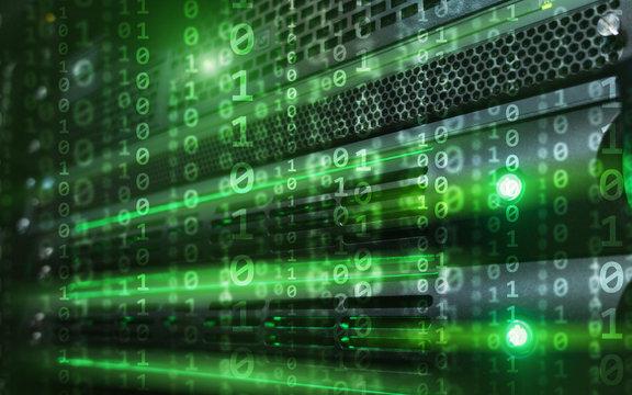 Green Binary code matrix digital internet technology concept on server room background.