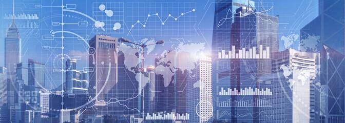 Business intelligence control interface marketing finance management city skyline view website panoramic heade banner. Wall mural