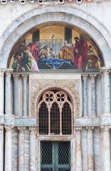 Fototapete - A closeup of St. Mark's body being venerated by the Doge and Venetian magistrates, mosaic of St. Mark's Basilica, Venice, Italy