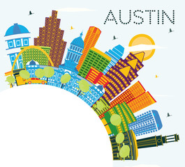 Wall Mural - Austin Texas City Skyline with Color Buildings, Blue Sky and Copy Space.