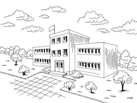 School building exterior graphic black white sketch illustration vector