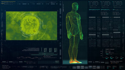 Wall Mural - Futuristic head up display motion element virtual biomedical holographic human body scan neurological examination, axial skeleton, vertebral column, DNA and heart diagnostic for background display