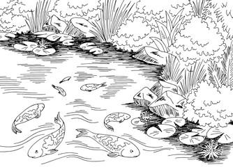 Pond koi carp fish graphic black white landscape sketch illustration vector