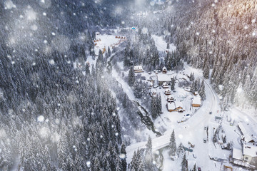 Wonderful winter landscape with a beautiful resort town view aerial