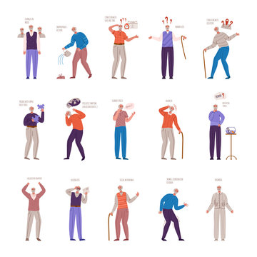 old people with dementia signs and symptoms, aged senior men with mental problems, Alzheimers or Parkinsons disease - memory loss, insomnia, disorientation, headache, slurred speech - vector isolated