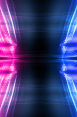 Wall Mural - Abstract dark neon background with rays and lines. Blue and pink, purple neon light. Symmetrical reflection, mirroring. Modern futuristic geometric background.