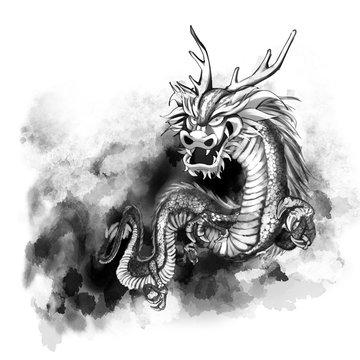 龍の水墨画