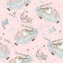 Seamless pattern with flying lambs and babies for girls. Vector.
