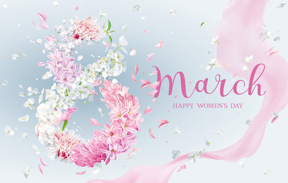 Floral vector greeting card for 8 March in watercolor style with lettering design