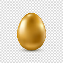 Vector golden realistic Easter egg isolated on transparent background.