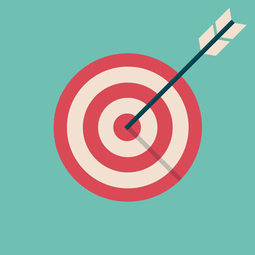 target goal with arrow icon symbol flat vector illustration