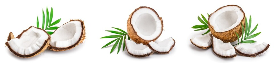 coconut with leaves isolated on white background. Set or collection Wall mural