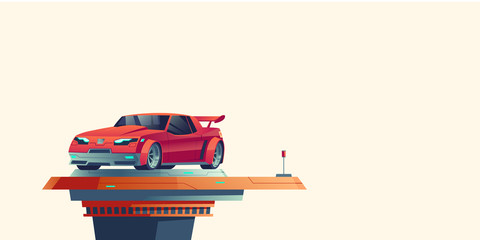 Foto auf AluDibond Cartoon cars Red sport car on futuristic extendable platform isolated on background. Vector cartoon illustration of supercar standing on top of automatic podium. Fantastic cyberpunk vehicle model