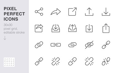 Share button line icon set. Link, broken hyperlink, download, publish, attach chain minimal vector illustrations. Simple outline signs for web application url. 30x30 Pixel Perfect. Editable Strokes