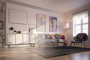 Furnishings and Art Panintings Inside an Apartment (draft) - 3d visualization