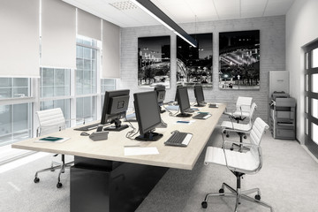 Common Computer Workplace Design (desaturated) - 3d visualization