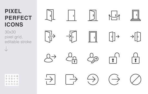 Open door line icon set. Login, logout, register, password, vip entrance, key, lock, exit minimal vector illustrations. Simple outline signs for web application. 30x30 Pixel Perfect. Editable Strokes