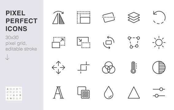 Photo edit line icon set. Flip, crop image, color filter, adjust effects, contrast minimal vector illustration. Simple outline signs for photography application. 30x30 Pixel Perfect. Editable Strokes