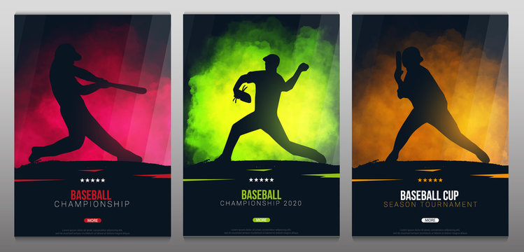 Set of Baseball banners with players. Modern sports posters design.