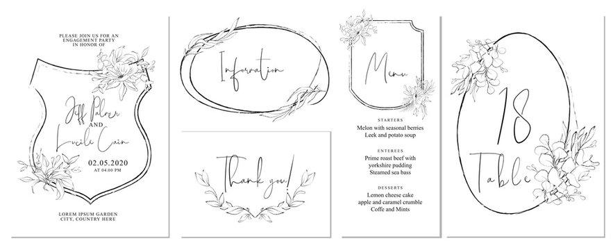 Minimalist wedding invitation cards template design, foliage line art ink drawing on white