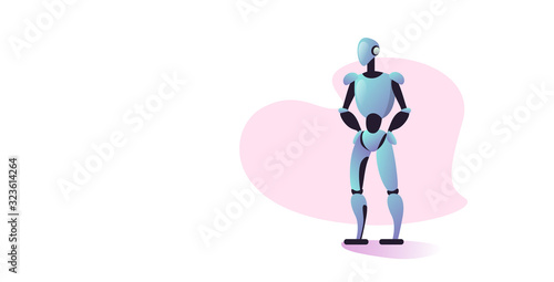 Wall mural cute robot cyborg modern robotic character standing pose artificial intelligence technology concept full length horizontal vector illustration