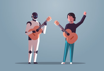 Wall Mural - robotic musician with man guitarist playing acoustic guitar robot vs human standing together artificial intelligence technology concept flat full length horizontal vector illustration