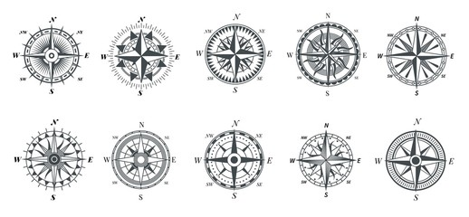 Wind rose compass. Vintage marine compasses, nautical sailing navigation travel signs, retro arrows pointer vector symbols. Compass direction, nautical travel exploration tools illustration