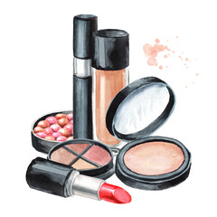 Lipstick, eyeliners, brushes, sponge, mascara and Foundation, face powder and cosmetic balls. Make-up concept. Hand drawn watercolor illustration,  isolated on white background