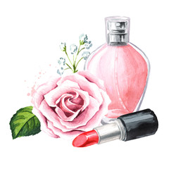 Lipstick, perfume bottle and rose flower. Make-up and beauty concept. Hand drawn watercolor horizontal  illustration,  isolated on white background