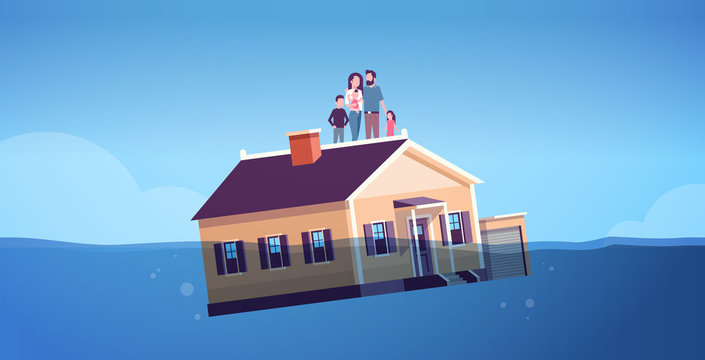house with family sinking in water real estate housing crisis business of mortgage rates bankruptcy concept parents and children floating with home horizontal full length vector illustration