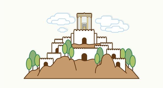 Jerusalem Israel, Temple at old city Israel cartoon graphic vector.