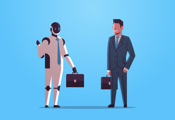 Wall Mural - robot and human businessmen holding briefcases robotic character vs man businesspeople standing together business artificial intelligence technology concept flat full length horizontal vector